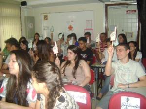 Durante a apresentação da peça houve até interação com a platéia!
