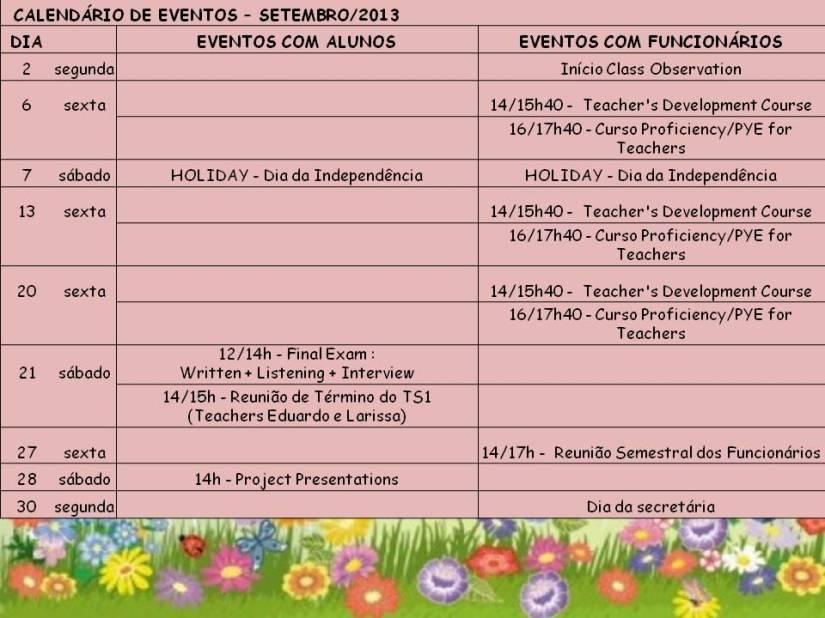 Calendário Eventos Set 13