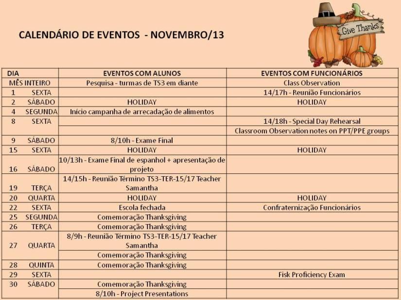 Calendário Novembro 13